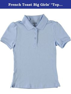 "French Toast Big Girls' ""Top Marks"" S/S Pique Polo - blue, 10/12. 97% Cotton / 3% Spandex. French Toast Girls' Short Sleeve Pique Stretch Polo shirt has a knit collar and three button front."