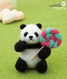 Needle felted panda with lollipop