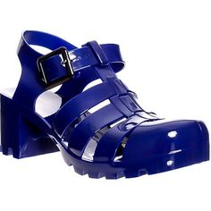 Blue chunky block heel buckle gladiator style jelly sandals ($2.99) ❤ liked on Polyvore featuring shoes, sandals, blue, cut out sandals, block heel gladiator sandals, jelly sandals, retro shoes and buckle sandals
