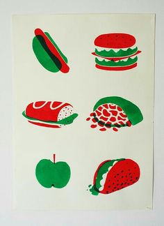 Red and green food.