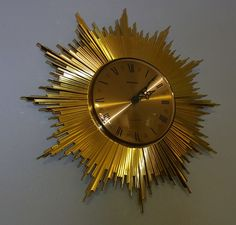 Mid Century Sun Burst Star Bust Style Wall Clock Staiver #
