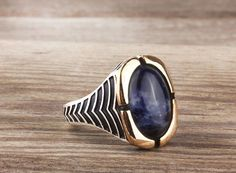 925K Sterling Silver Gemstone Man Ring With Natural Lapis Stone (All Sizes) #istanbul_jewelry #Statement