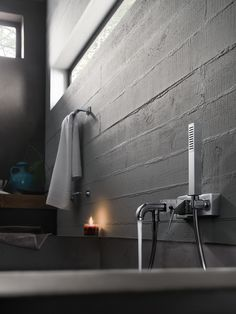 Wall-mounted chrome-plated bathtub mixer with hand shower CUBE by Carlo Nobili… Concrete Furniture, Concrete Floors, Furniture Design, Wc Bathroom, Bathroom Ideas, Wall Hung Toilet, Interior Architecture, Interior Design, Beautiful Bathrooms