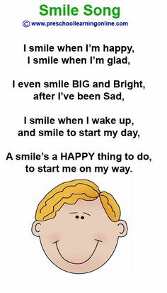 The Smile Song is a preschool song to teach kids about smiling and feelings Preschool Poems, Emotions Preschool, Feelings Activities, Kindergarten Songs, Preschool Music, Kids Poems, Preschool Lessons, Preschool Classroom, Easy Poems For Kids