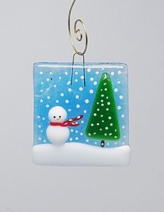 Fused glass ornament Christmas Snowman tree Xmas snow scene Blue green red white Unique one of a kind Recycled art glass Transparent Fused glass ornament Christmas Snowman tree Xmas snow scene Stained Glass Ornaments, Stained Glass Birds, Stained Glass Panels, Fused Glass Art, Stained Glass Patterns, Glass Christmas Ornaments, Christmas Snowman, Snowman Tree, Snowman Ornaments