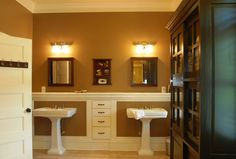 Rectangular White Double Pedestal Bathroom Sink Along With Brown Bathroom Wall Paint And Square Wood Double Bathroom Mirror For Nice Pedestal Bathroom Sink For Awesome Bathroom Decoration