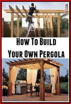 Modern ** How To Construct Your Personal Pergola Diy Pergola, Building A Pergola, Wooden Pergola, Outdoor Pergola, Outdoor Spaces, Outdoor Living, Pergola Lighting, Pergola Roof, Cheap Pergola