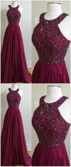 Beaded Prom Dresses, Chiffon Prom Dress,Halter Neckline Prom