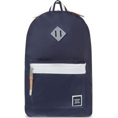 HERSCHEL SUPPLY CO Ruskin backpack ($92) ❤ liked on Polyvore featuring bags, backpacks, navy tpu coated, knapsack bags, padded bag, navy bag, padded backpack and zipper bag