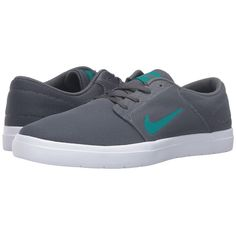Nike SB Portmore Ultralight Mesh (Dark Grey/Rio Teal) Men's Skate... ($65) ❤ liked on Polyvore featuring men's fashion, men's shoes, men's sneakers, mens mesh shoes, mens breathable shoes, mens sneakers, mens skate shoes and mens shoes