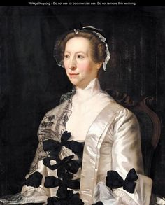 Portrait Of A Lady, Half Length, Wearing A White Satin Dress With Black Bows - Henry Pickering