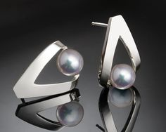 Cultured Pearl Earrings - Argentium Silver - 2470 A contemporary, yet timeless design by award winning designer, David Worcester. PLEASE LOOK AT THE MEASUREMENTS CAREFULLY. SOME PHOTOS HAVE BEEN ENLARGED TO SHOW DETAIL, WHILE OTHERS HAVE BEEN MINIMIZED TO FIT THE FRAME. ACTUAL SIZE CANNOT BE DETE