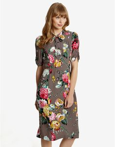 Taupe Posy Carrine Womens Floral Dress | Joules UK