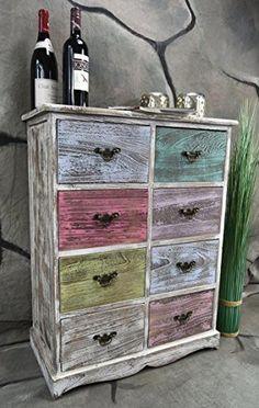 Kommode Schrank mit 8 Schubladen bunt Landhaus Shabby Chic Vintage Weiß LV1008