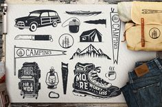 Vintage Surfing Icons / Summer Camping Symbols by JeksonJS on Envato Elements