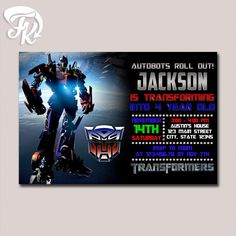 Transformer Optimus Prime Birthday Party Card Digital Invitation $9.19 USD