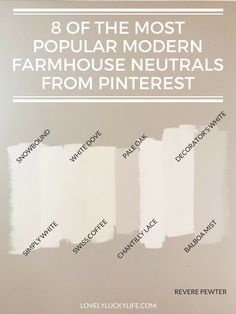 Modern Farmhouse Paint Colors for Walls - Lovely Lucky Life There are SO many shades of grey & white paint, it's hard to choose a neutral wall color! I tried 12 modern farmhouse neutral paint colors - see them all! Behr Paint Colors, Paint Color Schemes, Interior Paint Colors, Paint Colors For Home, Off White Paint Colors, Nursery Paint Colors, Colors For Walls, Cream Paint Colors, Light Paint Colors