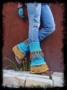 Bright TURQUOISE PIXIE leg warmers Flared Boho Urban Leg by GPyoga, $74.00