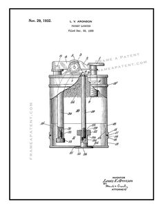This is a Patent Print for a Pocket Lighter. It was invented by Aronson Louis V and it was issued on November 1932 by the United States Patent and Trademark Office. Pocket Light, Printed Pages, Patent Prints, Inventions, Lighter, Smoking, Poster Prints, Canvas Prints, Photo Canvas Prints