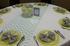 "Baby Shower/Sip & See ""Blue-Grey+Yellow Baby Shower"" 