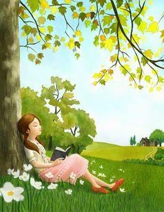 - illustration by YoonJae Lee, via picturebook-illust Girl Reading Book, Reading Art, Reading Cartoon, Children Reading, Art Anime Fille, Anime Art Girl, Cute Illustration, Cartoon Art, Cute Drawings