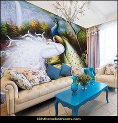 wall mural fashion wallpaper peacock