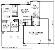 First Floor Plan of Bungalow   Craftsman   Traditional   House Plan 72970