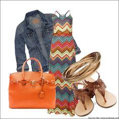 Chevron print Maxi dress with Denim Jacket and flat sandals  #Maxidress #Chevronprint #Denimjacket #Flatsandal