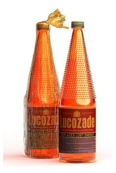 Proper Lucozade glass bottles with orange plastic wrapper #1970s