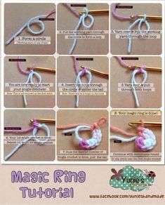 Magic Ring Tutorial Every amigurumi starts with a magic ring and this is indeed . Magic Ring Tutorial Every amigurumi starts with a magic ring and this is indeed magical! Crochet Stitches For Beginners, Basic Crochet Stitches, Crochet Basics, Magic Circle Crochet, Magic Ring Crochet, Crochet Crafts, Easy Crochet, Crochet Projects, Crochet Designs