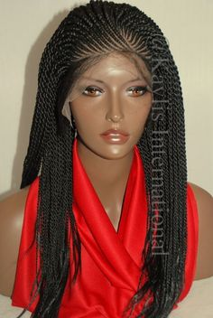 """Fully hand braided lace front wig - faith color #1 in 20"""""""