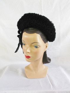 Clearance 1940's Vintage Black Hat with Faux by MyVintageHatShop