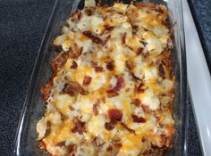 Twice baked potato casserole in a baking dish.