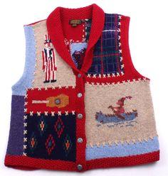 Vintage Eddie Bauer Americana Wool Sweater Vest Womens Size Large Red White Blue #EddieBauer
