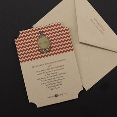 Nautical Chevron - Invitation - Claret (Also available in other colors)