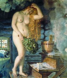Kustodiev russian venus - Bathing - Wikipedia Russian Painting, Russian Art, Venus Painting, Art Database, Museum Of Fine Arts, Art Forms, Bathing, History, Artwork