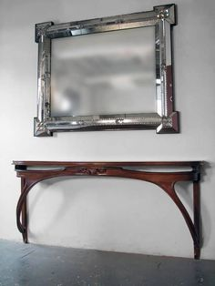 An Art Deco style Venetian mirror inspired by Serge Roche. The frame with angled and faceted antiqued mirrored glass plates and separated by twisted glass rope details. All glass hand-cut, mirrored and assembled in USA. Mantel Mirrors, Fireplace Mirror, Art Deco Furniture, Cool Furniture, Venetian Mirrors, Art Deco Fashion, Retro, Antiques, Glass
