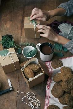 Be ready to pack up baked goods for guests in simple boxes. Image Via: Habitually Chic