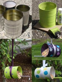 Vogelhaus draußen Make easy DIY bird feeders from bottles, cans, Popsicle sticks, and cups and sauce Tin Can Crafts, Diy Crafts To Sell, Diy Crafts For Kids, Building Bird Houses, Bird Houses Diy, Bird Feeder Craft, Bird House Feeder, Easy Bird, Homemade Bird Feeders