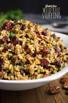 Wild rice stuffing is an easy gluten-free side dish that will complete your holiday table.  It has all the classic stuffing flavors without the filler!  So serve this bread-less alternative at your next holiday gathering!  It's also vegan and can be made nut-free! #glutenfreeside #holidayside #glutenfreestuffing #wildricerecipe #holidaystuffing #stuffingalternative #veganside via @WYGYP