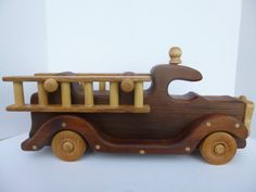 Wooden Toy Fire Truck -CHRISTMAS SPECIAL 20 Dollars Off - All Natural Beeswax Finish - Redwood / Handmade - All Wood on Etsy, $62.99