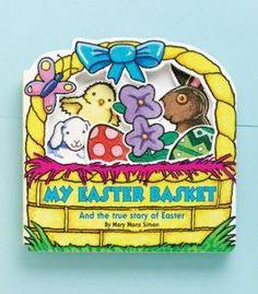 """GREAT book for young toddlers """"My Easter Basket: And the True Story of Easter"""". Teaches the events leading up to Easter such as palm Sunday, and compares to non christian events (the green egg in the basket represents Palm Sunday)"""