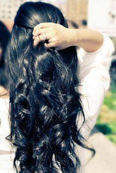 Shiny black colour hair