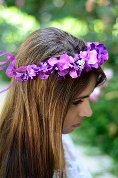 SALE THE VIOLET Purple Butterfly Wedding Ribbon Flower Crown Renaissance Hippie Festival Woodland Halo Floral Headband Hair Circlet Medieval