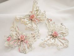 Handmade Shabby Chic Elegant Rose Butterfly's by Becky #home decor                                                                                                                                                                                 More
