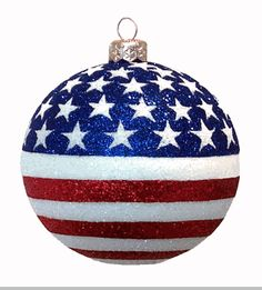 Red White and Blue Christmas Ornament Hand Painted Patriotic ...