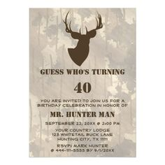 Hunting Mens Buck Animal Birthday Party Funny Magnetic Invitations Personalize this funny unique wildlife celebrations invitation for your outdoors man, sportsman or hunting guide big over the hill birthday party! Great for any party - a mans 20th , 30th , 40th , 50th , 60th , 70th birthday or any other age! This invite features a buck head with antlers in brown with a brown camo background. #oldman #oldbuck #gag #hunting #funny #oldman #oldbuck #gag #hunting #funny