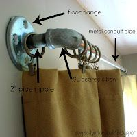 Galvanized Curtain Rods from Plumbing Parts (tip: use electrical metal conduit instead of galvanized pipe: cheaper)(How To Make Curtains Bathroom) How To Make Curtains, Diy Curtains, Outdoor Curtains, Closet Curtains, Curtains For Boys Room, Hanging Drapes, Office Curtains, Sliding Door Curtains, Pergola Curtains