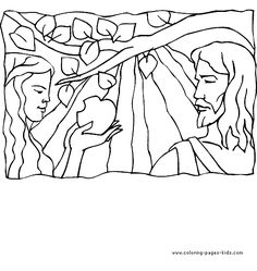 Adam and Eve and an apple Bible Story color page, religious, religion coloring pages, color plate, coloring sheet,printable coloring picture