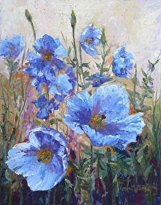Himalayan Blue Poppies by Karen Mattson Oil ~ x